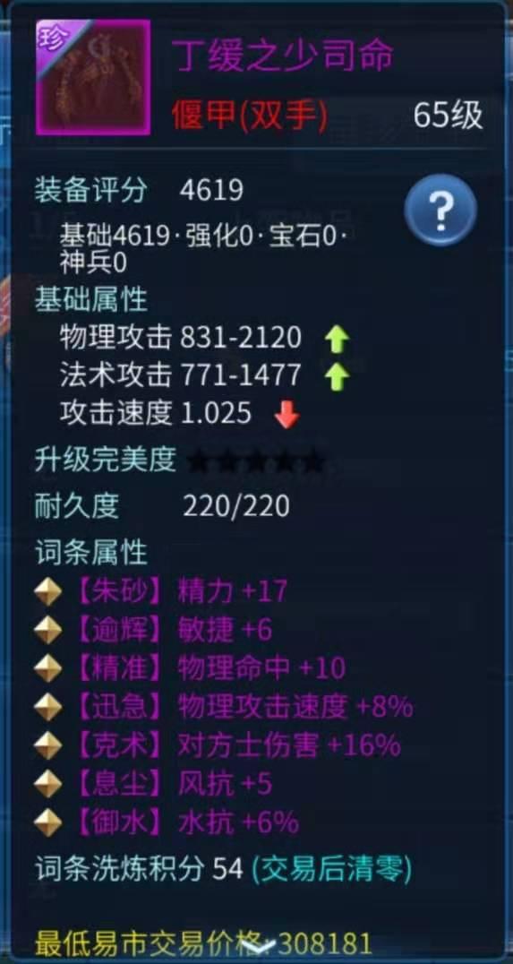 65级紫珍品,装备评分4619,丁缓之少司命